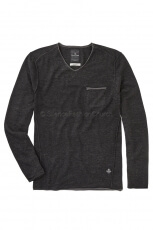 Blue de Genes Pietro V-Neck Knit vulcano black  2